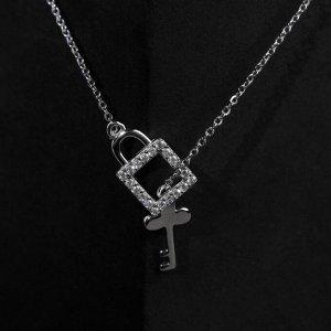 """Кулон """"Замочек с ключиком"""" висячий, посеребренее, цвет белый в серебре, L=40 см"""