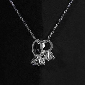 "Кулон ""Два колечка"" висячий, посеребренее, цвет белый в серебре, L=40 см"