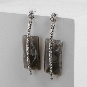 """Серьги ассорти """"Танзания"""" иглы, цвет серый в чернёном серебре"""