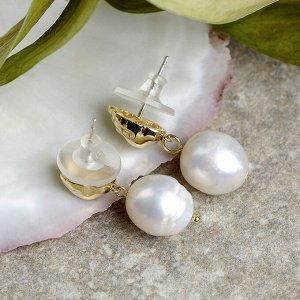 """Серьги с жемчугом """"Море"""" улитка, цвет белый в золоте"""