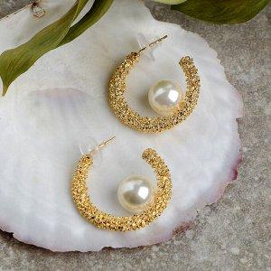 """Серьги с жемчугом """"Море"""" коралл, цвет белый в золоте"""