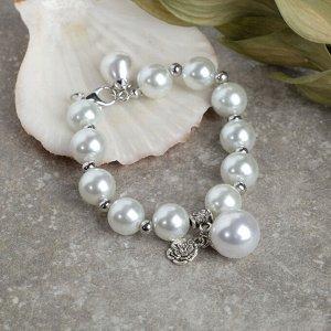 """Браслет жемчуг """"Сказка"""" розочка, d=1,2, подвеска d=1,6, цвет белый в серебре, 20см"""