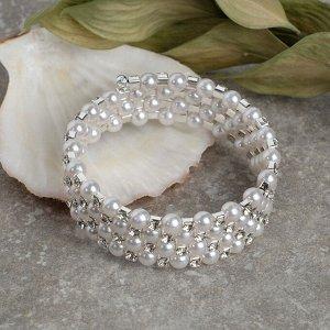 """Браслет жемчуг """"Пружинка"""" стразинки, d=0,6, цвет белый в серебре, 6см"""