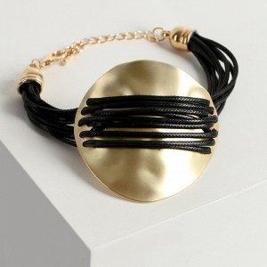 """Браслет ассорти """"Шаман"""" крупный диск, цвет золото, L=19 см"""