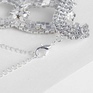 """Браслет со стразами """"Селебрити"""" сплетение овалов, цвет белый в серебре, 18см"""