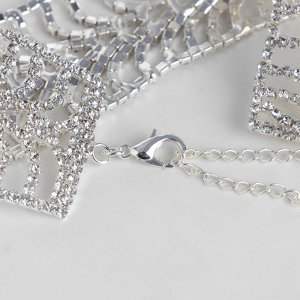 """Браслет со стразами """"Селебрити"""" плетение, цвет белый в серебре, 18см"""