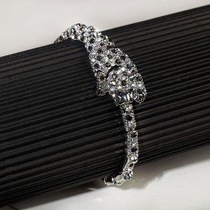 """Браслет со стразами """"Гепард"""" объёмный, цвет чёрно-белый в серебре, 20см"""