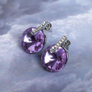 """Серьги со стразами """"Круг"""" сияние, цвет фиолетовый в серебре"""