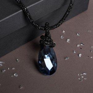 """Кулон на декоративной основе """"Сокровище"""" крупный кристалл, цвет чёрно-синий, 50см"""
