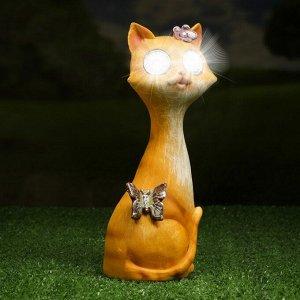 """Садовый светильник """"Кошечка"""" на солнечной батарее, 24 см"""