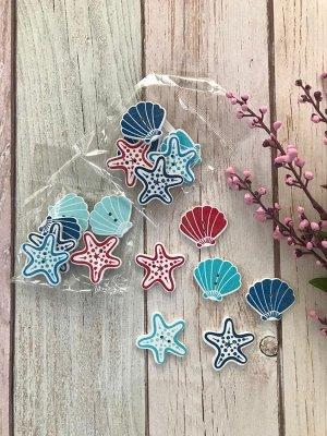 Набор декоративных пуговиц Морская звезда, ракушка ассорти 6шт