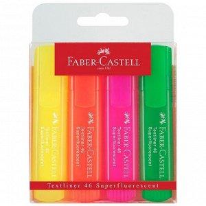 """Набор текстовыделителей Faber-Castell """"46 Superfluorescent"""" 4 флуоресцентных цв., 1-5мм, пластик. уп"""