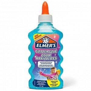 "Клей канцелярский с блестками Elmers ""Glitter Glue"", 177мл, для слаймов, голубой"