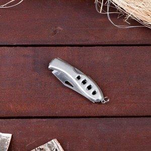 Нож, складной, без фиксатора, рукоять металлик, вырезы овалы