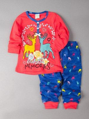 Пижама для девочки с длинными рукавами, цветные олени, фуксия 128-134