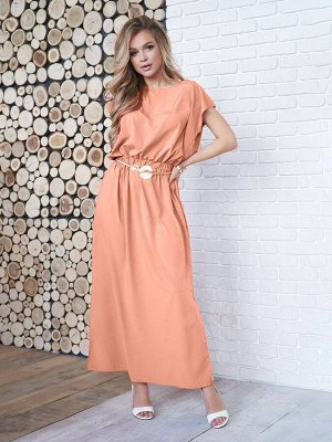 Персиковое длинное платье с декоративной спинкой