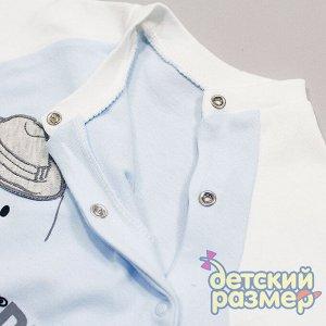 Комбинезон Комбинезон для малышек: - выполнен из приятного к телу хлопкового трикотажа - застегивается на удобные кнопочки - нежные расцветки в голубых тонах, на груди принт с мишкой с поднимающейся ш
