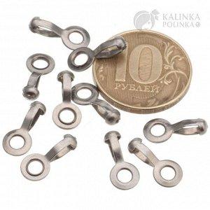 Концевики-скуфейки из хир. стали. для шариковой цепочки диам. 2,5мм и кольцом с отв. 3мм, общ. разм 14х6х4мм