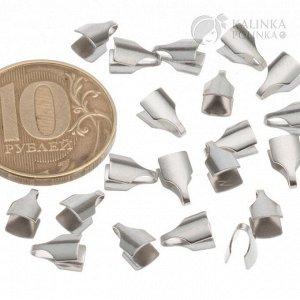 Концевики для вклеивания из хир. стали, для плоских шнуров и цепочек шириной 4мм, общ. разм 8х4.5х2мм