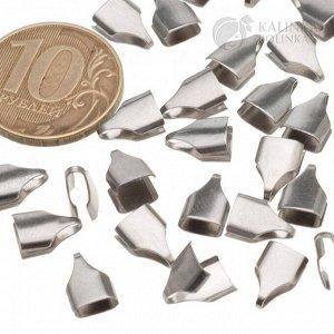 Концевики для вклеивания из хир. стали, для плоских шнуров и цепочек шириной 6мм, разм 10х6.5х2.5мм
