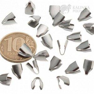 Концевики для вклеивания из хир. стали, для плоских шнуров и цепочек шириной 5мм, разм 9х5.8х2.6мм