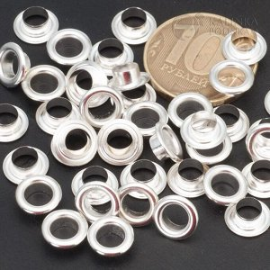 Люверсы (блочки) латунные, цвет серебро, размер 9х3,5мм, внутренний диаметр 5мм.