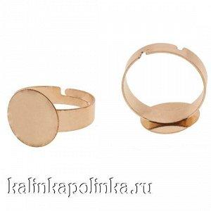 Основа для кольца с площадкой 14мм, цвет желтое золото, р-р регулируемый