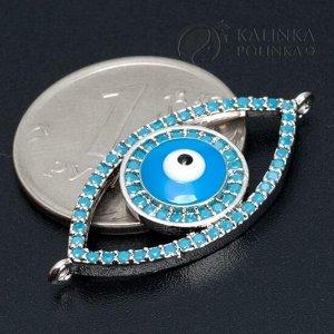 Коннектор Глаз 1/1, для браслетов, со стразами, цвет серебро, р-р 30х14х4мм, отв-е 1мм