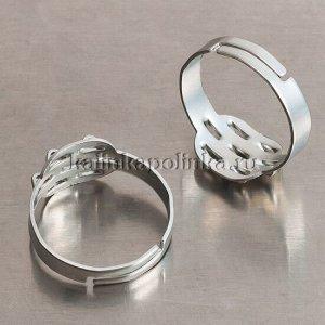 Основа для кольца с площадкой на 7 петелек, р-р 19x18мм, железо, цвет светлая платина, р-р регулируется, ОПТОМ Основа для кольца с площадкой на 7 петелек, р-р 19x18мм, железо, цвет светлая платина, р-