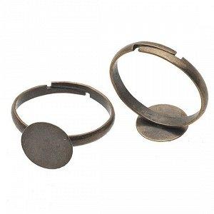 Основа для кольца с площадкой 10х10мм, железо, цвет бронза, р-р регулируемый, ОПТ Основа для кольца с площадкой 10х10мм, железо, цвет бронза, р-р регулируемый