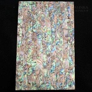 Перламутровая пластинка для инкрустации и декора поверхностей, 14х24см, толщина 0,15-0,2мм, цвет коричневый яркий радужный