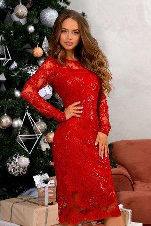 Платье Размер: 42 Алый оттенок- великолепный выбор для вечернего образа, верный способ оказаться в центре внимания! Кружевная ткань сама по себе ассоциируется с чем то праздничным .Платья с кружевом