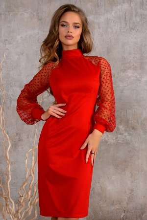Платье Размер: 42 / 44 / 46 Стильная модель алого цвета. Основной акцент в этом наряде – нежные воздушные рукава сеткой в горошек! Создаст легкий и женский образ несмотря на яркий насыщенный цвет!