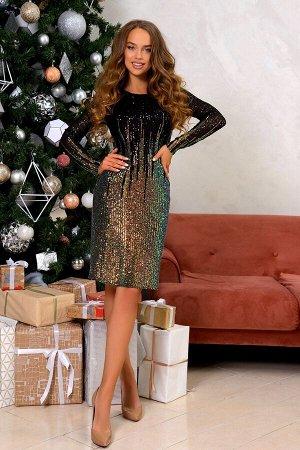 Платье Размер: 42 / 48 Хит продаж! Вечернее платье из ткани расшитой мерцающими пайетками, окрашенные по градиенту от яркого насыщенного золотого цвета к черному Модель на подкладе. Такая комбинация