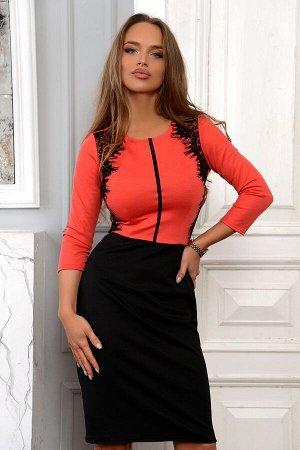 Платье Размер: 42 / 44 / 46 / 48 Очаровательное трикотажное платье с имитацией двойки ???? Верх глубокого алого оттенка с выделкой из кружева и чёрная классическая юбка. Одновременно смотрится строго