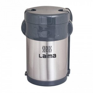 Термос ЛАЙМА пищевой с широким горлом, 2 л, нержавеющая сталь, + ложка, вилка, 3 чашки, 601407
