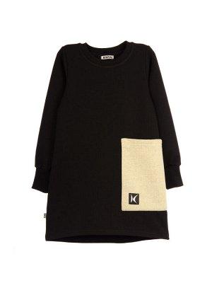Платье Состав: хлопок 92%, эластан 8%  Платье с длинным рукавом на манжете. Сбоку карман увеличенного размера. Спинка удлиненная. Изготовлено из 2х-ниточного футера с эластаном.