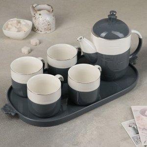 Набор чайный «Калуа», 6 предметов: чайник 800 мл, 4 кружки 200 мл на подставке