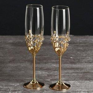 """Бокалы свадебные с кристаллами Swarovski """"Готика"""" золото 23,5х6,1 см (набор 2 шт)"""