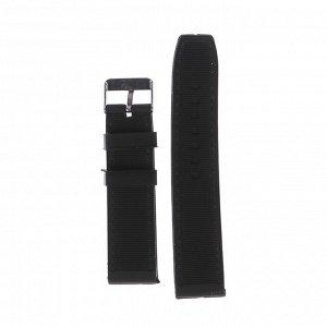 Ремешок для часов 22 мм, силикон, 20.5 см, черный, микс