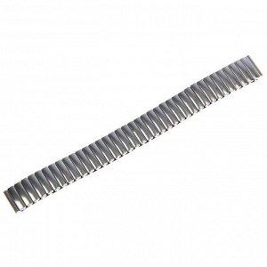 Ремешок для часов 14 мм, металл, протектор звенья объёмные, хром, 15 см