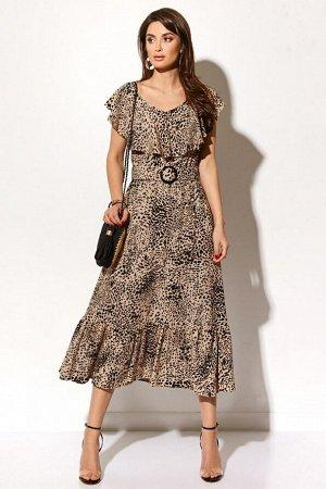 Платье Состав 100% вискоза Платье (длина по спинке - 125 см, цвет: капучиновый) - отрезное по линии талии, талия на резинке; - горловинаV-образной формы, с декоративным воротником; - без рукавов; - пе