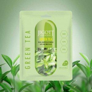 """""""Jigott"""" Маска для лица тканевая ампульная с экстрактом зеленого чая 27 мл"""