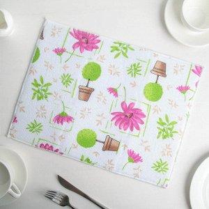 Салфетка для сушки посуды Доляна «Цветочный день», 30?40 см, микрофибра