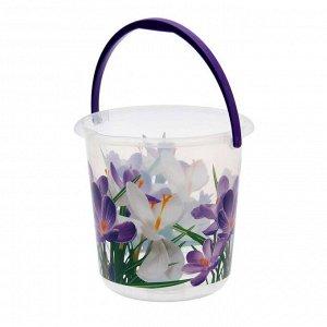 Ведро «Деко. Крокусы», 5 л, цвет фиолетовый/прозрачный