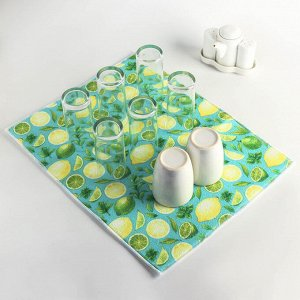 Салфетка для сушки посуды Доляна «Лимоны», 38?51 см, микрофибра