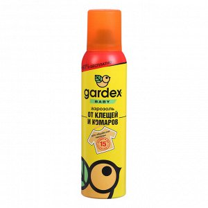 Аэрозоль от клещей и комаров Gardex Baby на одежду, 150 мл