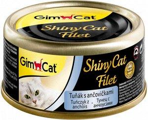 GimCat ShinyCat Filet консервы для кошек из тунца с анчоусами 70 г
