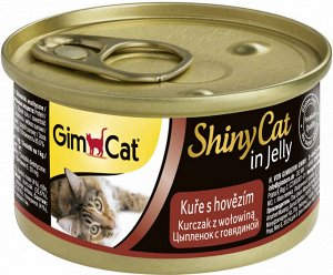 GimCat ShinyCat консервы для кошек из цыпленка с говядиной 70 г