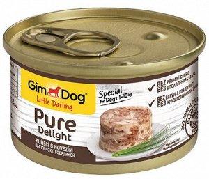GimDog Pure Delight консервы для собак из цыпленка с говядиной 85 г